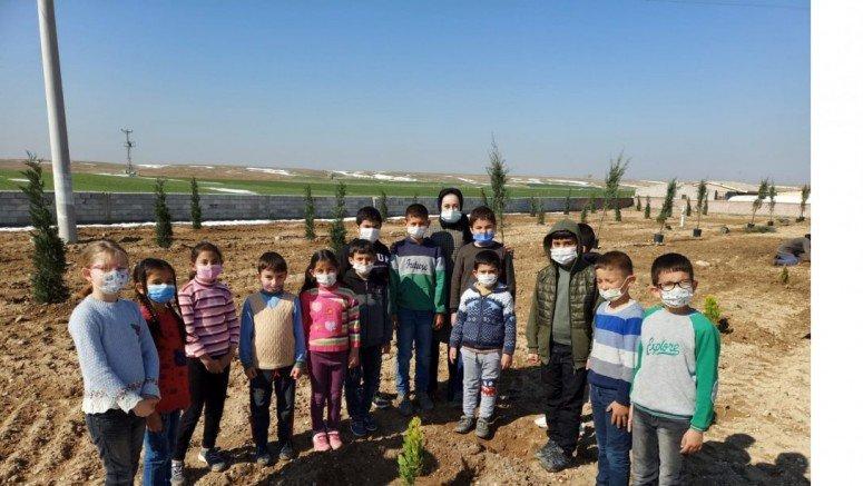 Mutlu İlkokulu'nda Ağaç Dikme Etkinliği Yapıldı